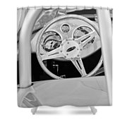 1959 Devin Ss Steering Wheel Shower Curtain