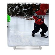 A Young Boy And Mother Sledding Shower Curtain