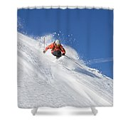 A Young Man Skis Untracked Powder Shower Curtain