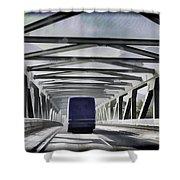 Blue Citylink Bus On A Metal Bridge In Scotland Shower Curtain