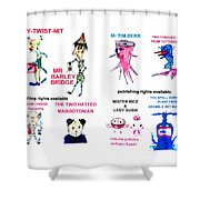 8 Super Hero,  Characters Of 35 From Wheatshire Shower Curtain