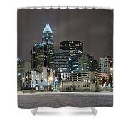 Charlotte Queen City Skyline Near Romare Bearden Park In Winter Snow Shower Curtain by Alex Grichenko