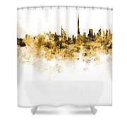 Dubai Skyline In Watercolour On White Background Shower Curtain