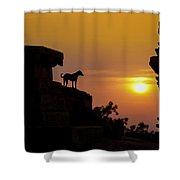 Hampi Sunset Shower Curtain