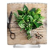 Kitchen Herbs Shower Curtain