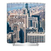 New York City Manhattan Midtown Aerial Panorama View With Skyscr Shower Curtain