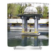 Premises Of The Hindu Temple At Mattan With A Water Pond Shower Curtain