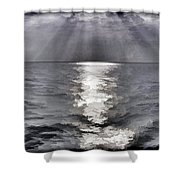 Rays Of Light Shimering Over The Waters Shower Curtain