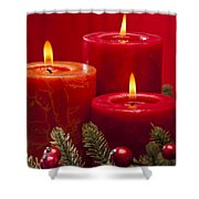 Red Advent Wreath With Candles Shower Curtain
