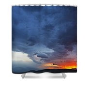 Stormclouds And Sunset Above Mountains At Toktogul In Kyrgyzstan Shower Curtain
