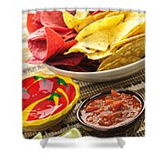 Tortilla Chips And Salsa Shower Curtain