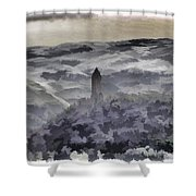 View Of Wallace Monument From The Heights Of The Stirling Castle Shower Curtain