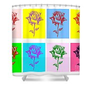 8 Warhol Roses By Punt Shower Curtain