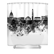 Washington Dc Skyline In Watercolor On White Background Shower Curtain