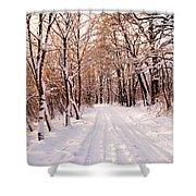 Winter White Forest Shower Curtain