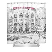 8th And Clark Busch Stadium Sketch Shower Curtain