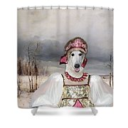 Borzoi - Russian Wolfhound Art Canvas Print Shower Curtain