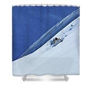 A Athletic Skier Rips Fresh Deep Powder Shower Curtain