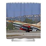 An F-16a Netz Of The Israeli Air Force Shower Curtain