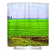 Green Fields With Birds Shower Curtain