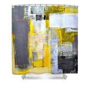 Busy Busy - Grey And Yellow Abstract Art Painting Shower Curtain