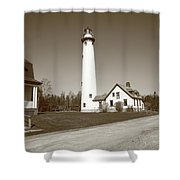 Lighthouse - Presque Isle Michigan Shower Curtain