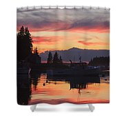 Port Clyde Maine Fishing Boats At Sunset Shower Curtain