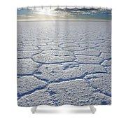sunrise at Salar de Uyuni worlds largest salt lake Bolivia Shower Curtain