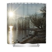 Sunshine Over An Alpine Lake Shower Curtain