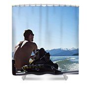 A Athletic Man Sits And Looks Shower Curtain