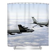 A B-52h Stratofortress Refuels Shower Curtain by Erik Roelofs