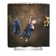 A Baby On The Clothesline Shower Curtain