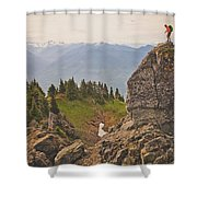 A Backpacker Balances On The Blocky Shower Curtain