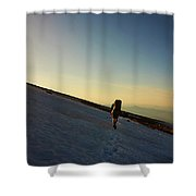 A Backpacker Crosses A Snowfield On Mt Shower Curtain