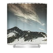 A Backpacker Gazes Up At Needle Peak Shower Curtain