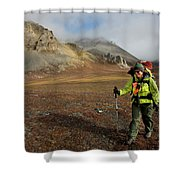 A Backpacker Makes Her Way Shower Curtain