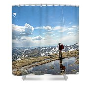 A Backpacker Stands Atop A Mountain Shower Curtain