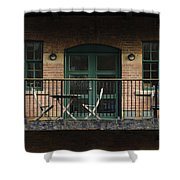 A Balcony On The River Aire Shower Curtain