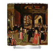 A Ball During The Reign Of Henri Iv Oil On Panel Shower Curtain