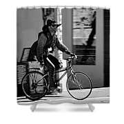 A Barefoot Cyclist With Beard And Hat In San Francisco Shower Curtain by RicardMN Photography