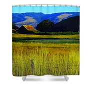 A Barn And Field In The Morning Shower Curtain