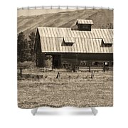 A Barn Near Ellensburg Wa Bw Shower Curtain