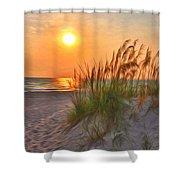 A Beach Sunset Shower Curtain