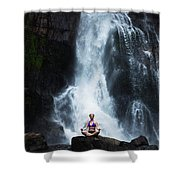 A Beautiful Young Woman Sitting Shower Curtain