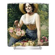 A Beauty Holding A Basket Of Roses Shower Curtain