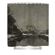 A Belgian Town In Winter Shower Curtain