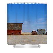 A Big Barn And Three Small Ones Shower Curtain
