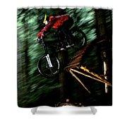 A Biker Rides His Mountain Bike Shower Curtain