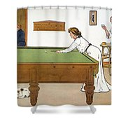 A Billiards Match Shower Curtain by Lance Thackeray