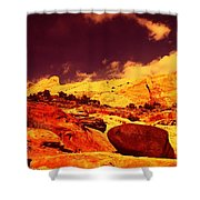 A Black Rock And Blue Sky Shower Curtain